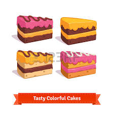 Tasty cake slices with frosting and cream Flat style illustration EPS 10 vector