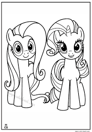 Fluttershy Rarity My Little Pony Coloring Pages