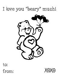 Heart Coloring Page I Love You Beary Much Free Valentine