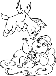 Nice Baby Hercules And Flying Pegasus Coloring Pages