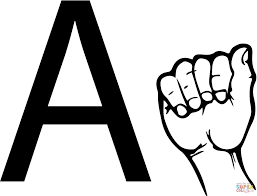 ASL Sign Language Letter A coloring page