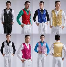 Groom Tuxedos Shirts Best Man New Gold Red Pink White Black Sequins Mens Show Vest Evening Party Host Wedding Groomsman Corset Men Shirt