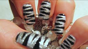 100 Nail Art 2011 New Years Silver Glitter Tiger Print Design Tutorial