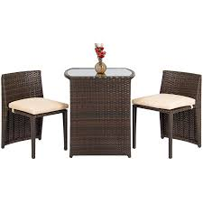 Best Choice Products 3-Piece Patio Wicker Bistro Set For Small Spaces With  Glass Top Table And 2 Chairs, Brown Melltorp Teodores Table And 2 Chairs White Bright Orange Hgg Ding Set With Chairs Rubberwood Fniture Small Kitchen Extending And Dimeions Room Spaces For Tables Lpd Monroe High Gloss In Black Wine Barrel Bistro Two Stunning White Argos Ikea Ps 2012 Bamboo Saddle Brown 3piece Microfiber Latt Kids Chair X New Flat Interior Decorative Wall Effect Small Table Two Table2 Outdoor Askholmen Grey Greybrown Stained Brown