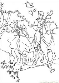 Cinderella And Prince Are Riding Horse Together Coloring Page