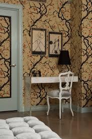 Cherry Blossom Bathroom Decor by Cherry Blossom Wallpaper Powder Room Eclectic With Bath Bathroom