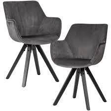 wohnling 2er set esszimmerstuhl samt dunkelgrau mit armlehnen küchenstühle modern mit schwarzen beinen bequemer schalenstuhl gepolstert
