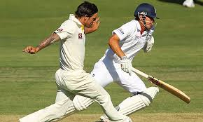 The Ashes 2010 11 Match Data Mitchell Johnson Of Australia Attempts To Run Out Alastair Cook Photograph Paul Kane Getty Images