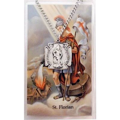 Saint Florian Badge Shape Pewter Medal Pendant Necklace with Holy Prayer Card