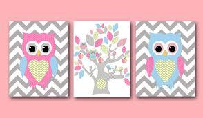 Owl Wall Art Owl Decor Owl Nursery Baby Girl Nursery Decor