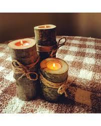Wooden Candle Holders Rustic Wedding Decor Log Tealight Set Of Three