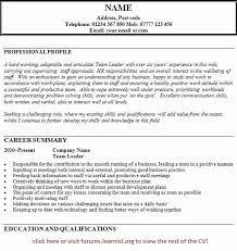 Supervisor Cv Example Leadership Resume Team Leader Template Systematic Add
