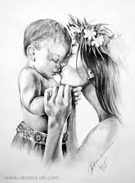 Mothers Love Drawing Portrait Pencil Charcoal Art