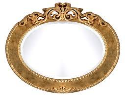 spiegel oval in blattsilber oder blattgold oder elfenbein und blattgold patiniert ovaler spiegel mit dekoration klassisch einrichtung chic