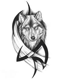 Black Ink Tribal And Wolf Head Tattoo Designs