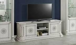 details zu lowboard wohnzimmer tv tisch weiß silber hochglanz mäander klassisch italienisch
