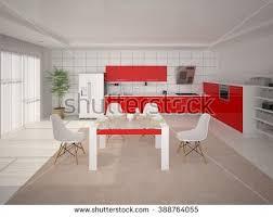 3d cuisine interer modern cuisine minimalist style 3d ภาพประกอบสต อก 388764055