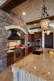 Oil Rubbed Bronze Faucets by Brick Stone Wall Wood Kitchen Cabinet With Stove And Marble