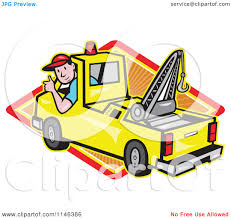 100 Tow Truck Clipart Cartoon Of A Happy Driver Holding A Thumb Up Over A