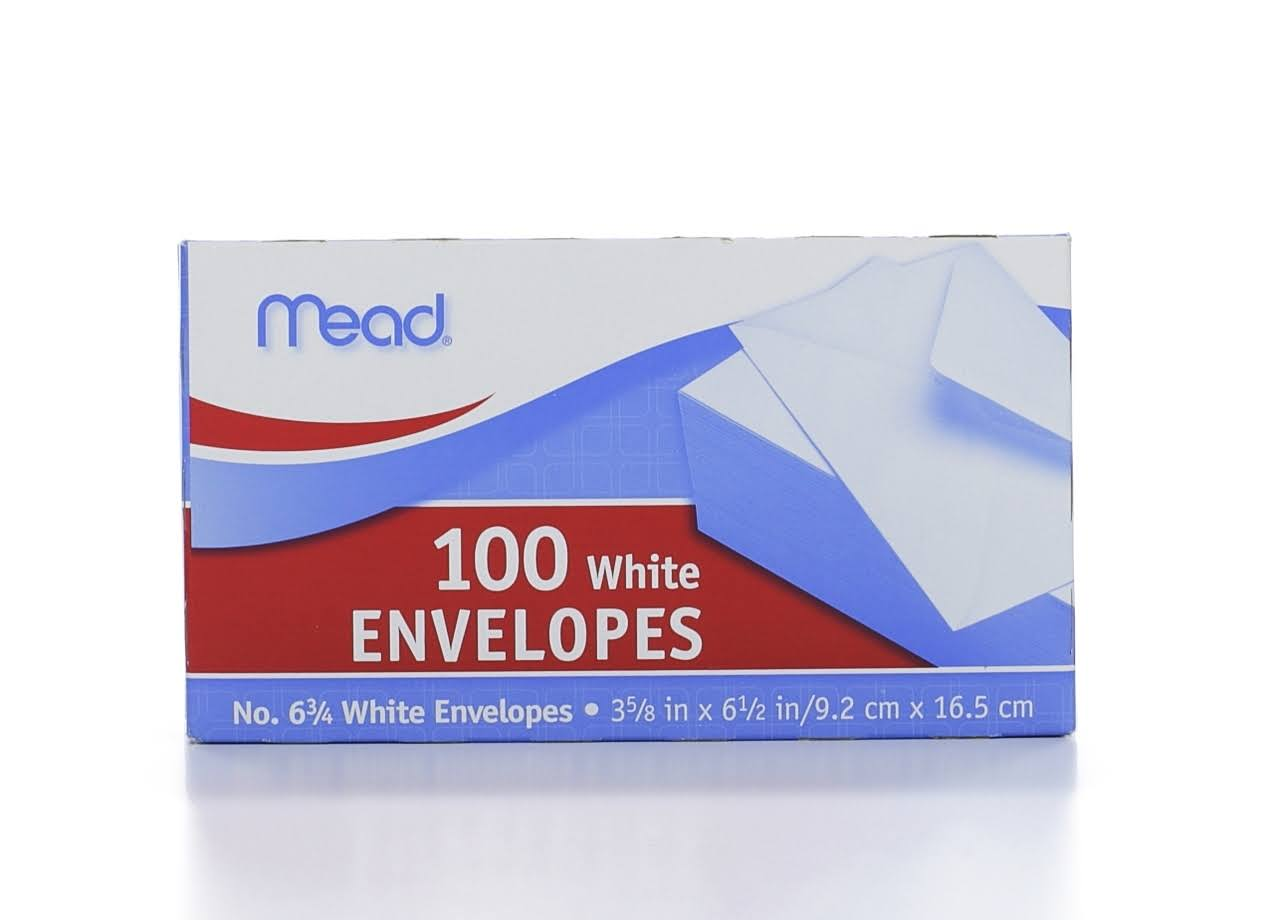Mead No. 6 3/4 White Envelopes 3 5/8in x 6 1/2in - 100 CT