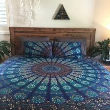 blue peacock printed mandala duvet cover set with matching pillow El