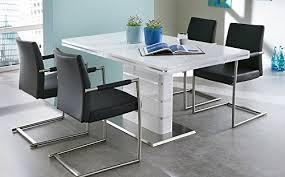 esstisch säulentisch küchentisch esszimmertisch tisch weiß hochglanz ausziehtisch synchronauszug ausziehbar edelstahl 160 x 90 cm