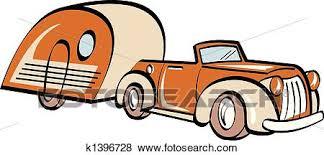 Clip Art Of Car Trailer RV Camper Camping K1396728