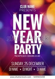 New Year Party Design Banner Event Celebration Flyer Template Bokeh Lights Festive