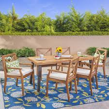 Noble House Juniper Teak Brown 7-Piece Wood Outdoor Dining Set With Cream  Cushions