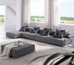 Modway Waverunner Sofa Set by Tosh Modern Zebrano Grey Fabric Sectional Sofa Chaise Ottoman