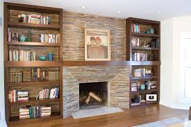 fireplace bookshelves design made of wood in rectangular shape