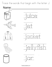 Trace The Words That Begin With Letter J Coloring Page