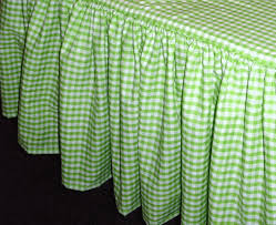 Green and White Gingham Check Regular or Extra Long Bedskirt