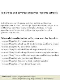 Resume Profile Examples Supervisor Plus Top 8 Food And Beverage Samples In This File You Can Ref To Prepare Perfect