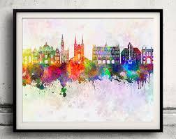 Gdansk Skyline In Watercolor Background