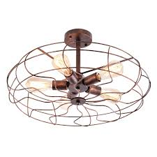 OYI Vintage Industrial Retro Ceiling Chandelier Light 5 Lights Close To Ceiling Semi Flush Mount Oil Rubbed Bronze Light Fixtures Metal Cage Style
