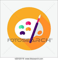 Clip Art Of Palette With Paint Brush Flat Icon Long