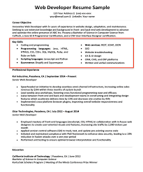 Key Skills Section Of A Web Developer Resume