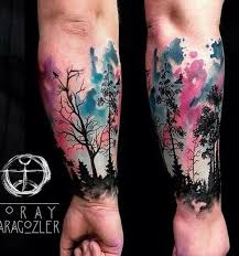 Watercolor Styled Forest Tattoo Design