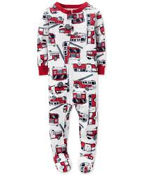 Carter's Baby Boys' 1-Pc. Firetruck-Print Footed Pajamas | Baby Boy ...