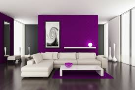 Walls Paint Ideas Purple Accent White Furniture Living Room
