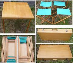 vintage wood fold up picnic table with 4 chairs packs together
