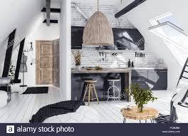 100 Attic Apartment Floor Plans Modern Openplan Apartment In Attic Loft Style 3d Render