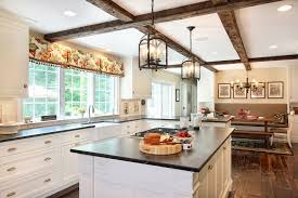 lantern pendant light kitchen traditional with beams bench seating