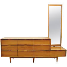 Vintage Mid Century Modern Danish Style Walnut Credenza Long Dresser And Mirror