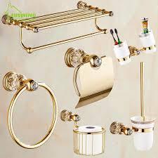 solide messing kristall badezimmer zubehör set polnischen finish gold bad hardware set europa antike bad produkte st1