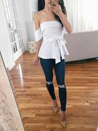 striped peplum top with skin jeans a p p a r e l pinterest