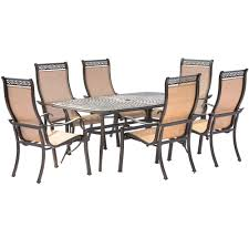 BUYDIG: Hanover Manor 7PC Dining Set: 6 Sling Chairs And 38 ... Ding Table 6 Chairs New 5 Piece Table Set 4 Chairs Glass Metal Kitchen Room Fniture Kitchen Simple Ding And Chair Set Black Incredible Size Medida Para Mesa Em Http And Ikea Clearance White Gloss Lenoir Brasilia Style Senarai Harga Homez Solid Wood C 38 Ww T Small Extending Tables Unique Elegant Square New Transitional 7pc Deep Finish Uph Seat Grand Mahogany Hard 68 Seater Kincaid Mill House With Monaco Rectangular Outdoor Patio Office Computer Chair Cover Task Slipcover