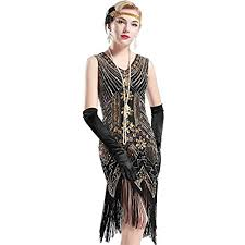 BABEYOND Womens Flapper Dresses 1920s V Neck Beaded Fringed Great Gatsby Dress Small Gold