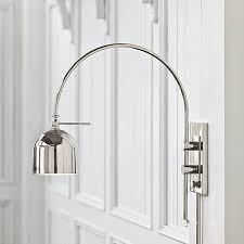 Cb2 Green Arc Lamp by Arc Dome Shade Modern Swing Arm Wall Light Polished Nickel